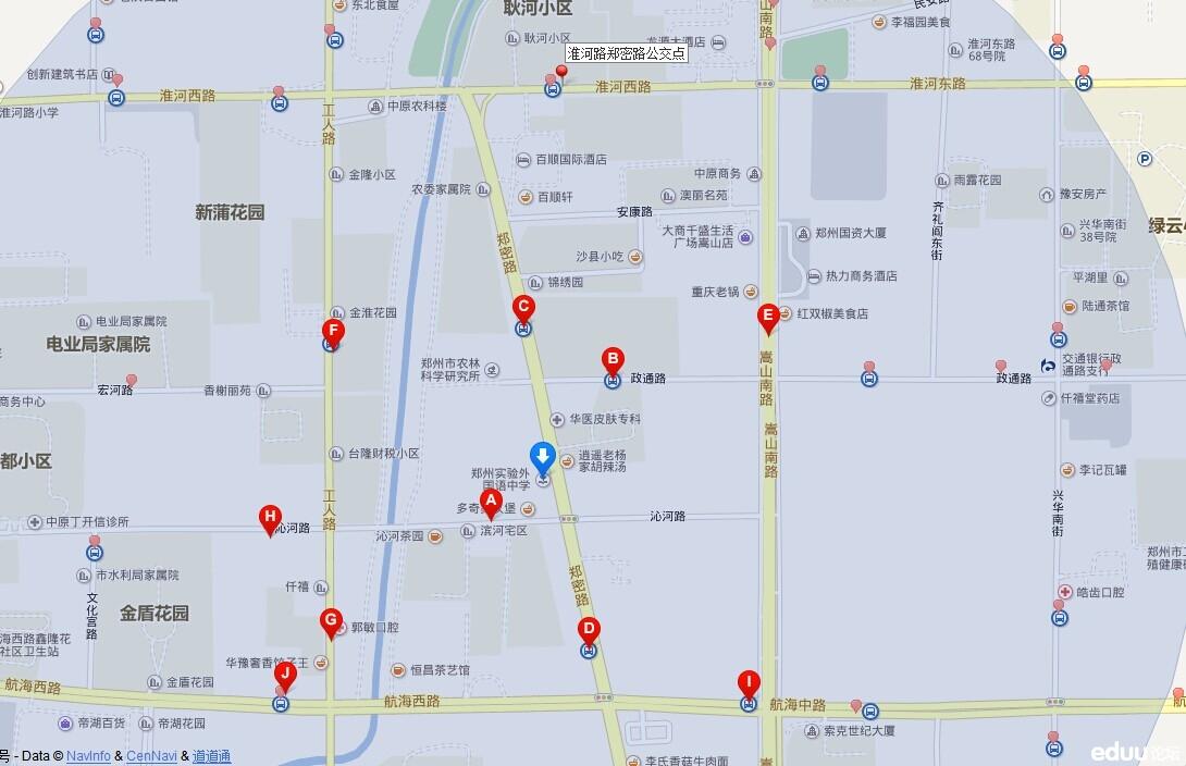 2014年郑州实验外国语学校小升初考点及路线图图片